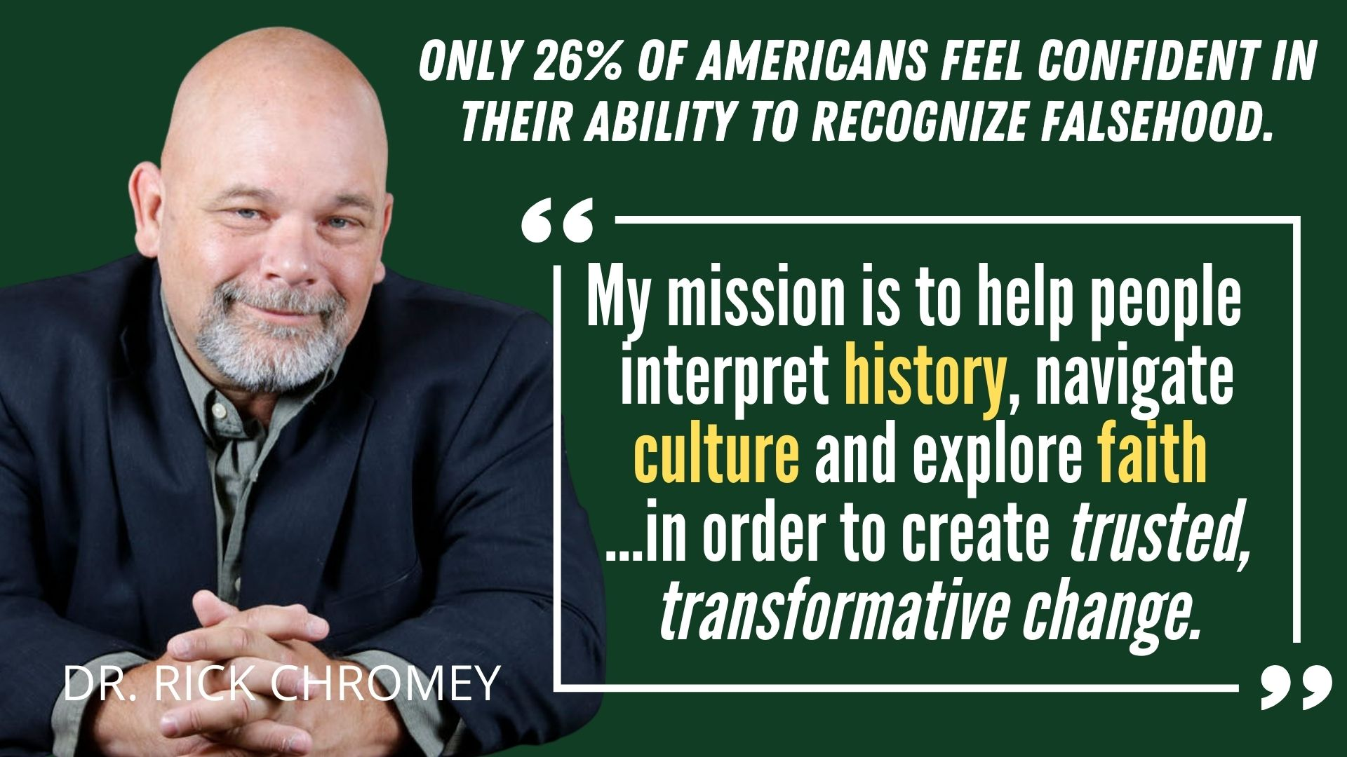 My mission is to help people to interpret history, navigate culture and understand faith for transformative change.